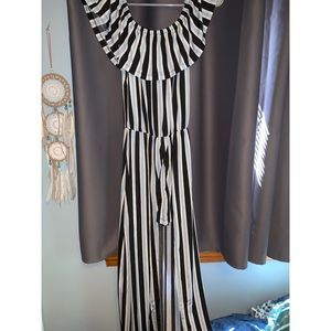 Dresses & Skirts - Black and blue vertical stripe romper with skirt